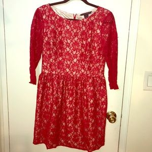 French Connection red lace dress